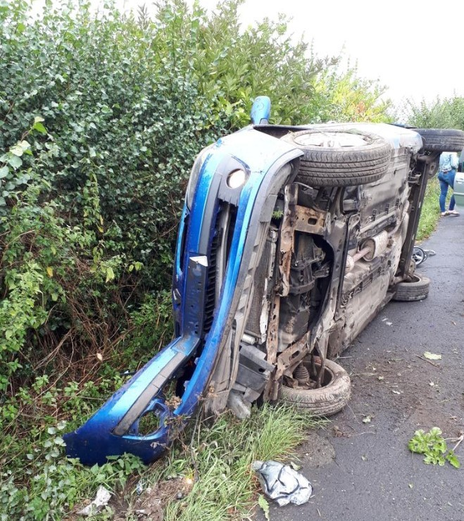 An overturned car on Gobowen Road, near Oswestry. Picture - West Mercia Police