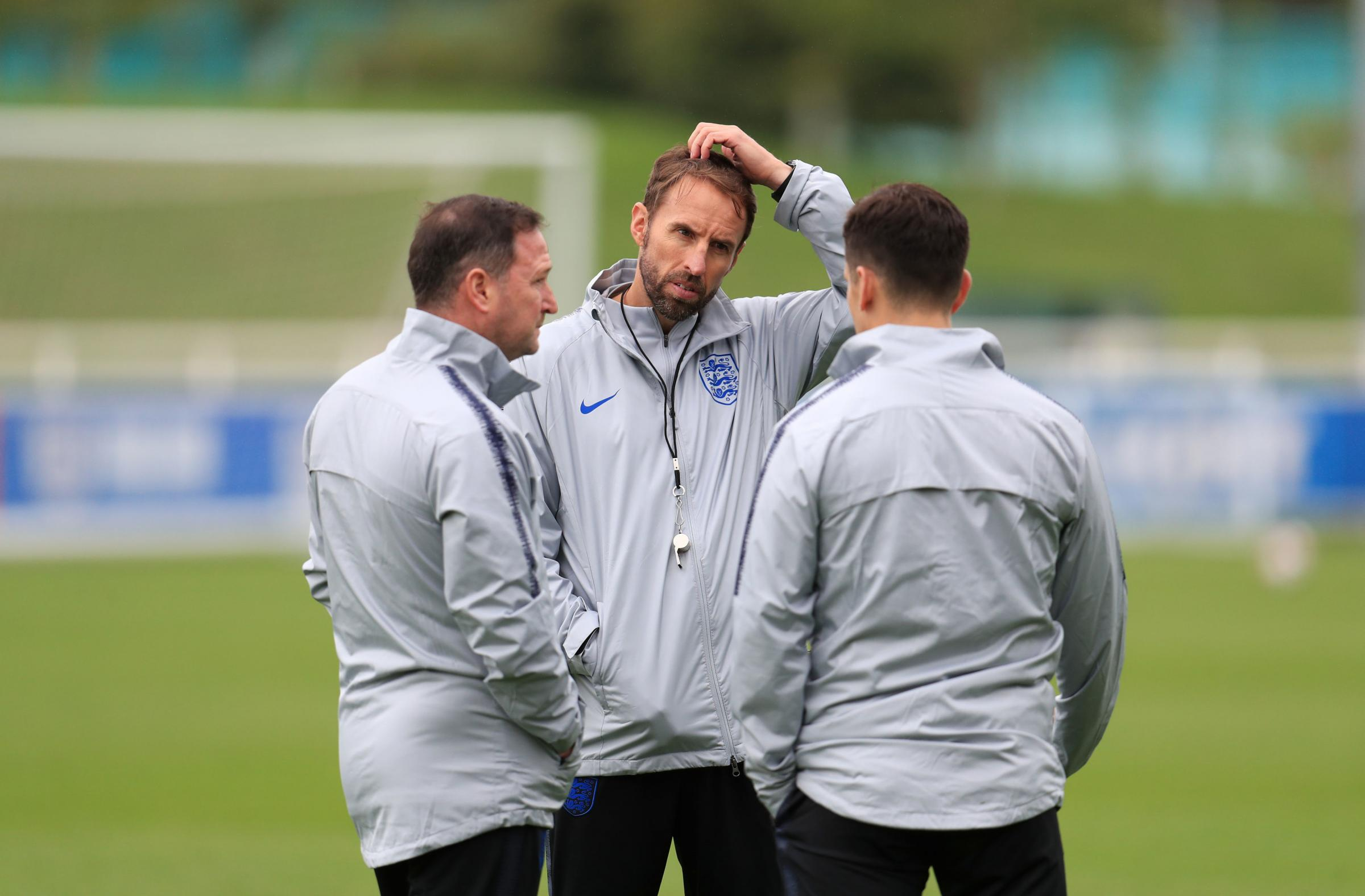 England's (left-right) Steve Holland and Gareth Southgate during a training session at St Georges' Park, Burton. PRESS ASSOCIATION Photo. Picture date: Tuesday September 4, 2018. See PA story SOCCER England. Photo credit should