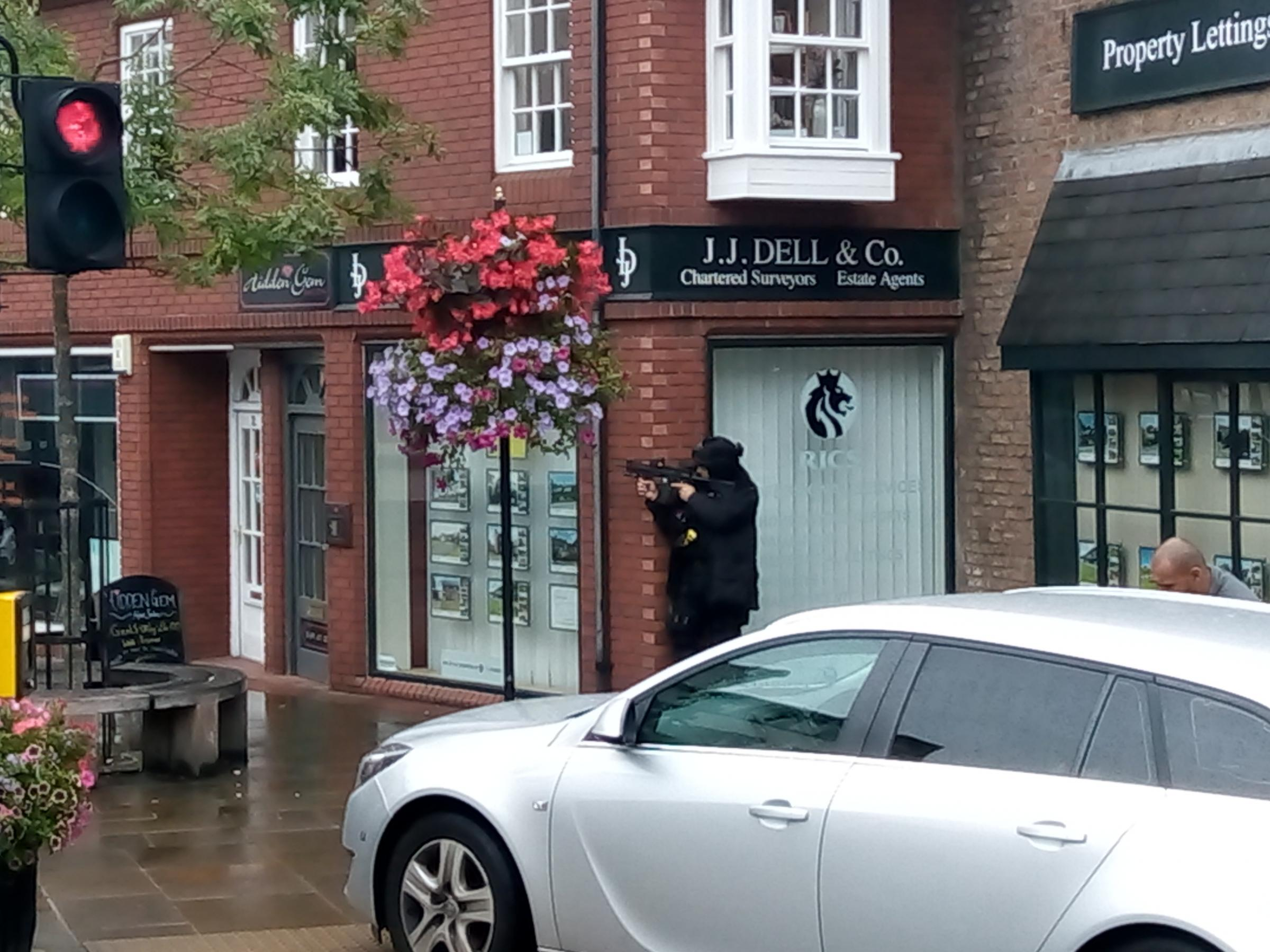 Armed police on Oswald Road, Oswestry