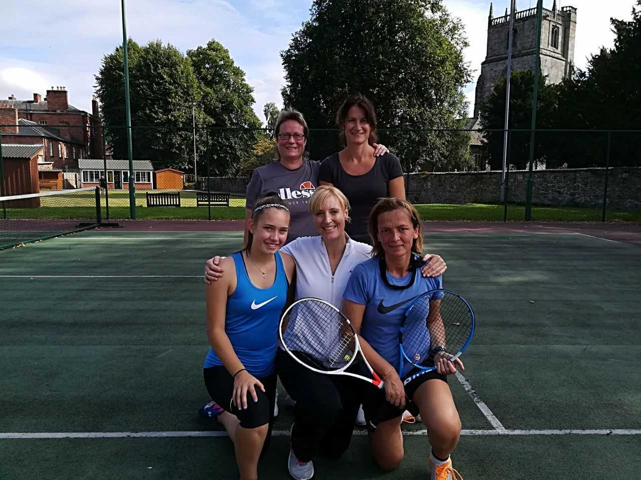 Oswestry Tennis Ladies first team celebrate their title