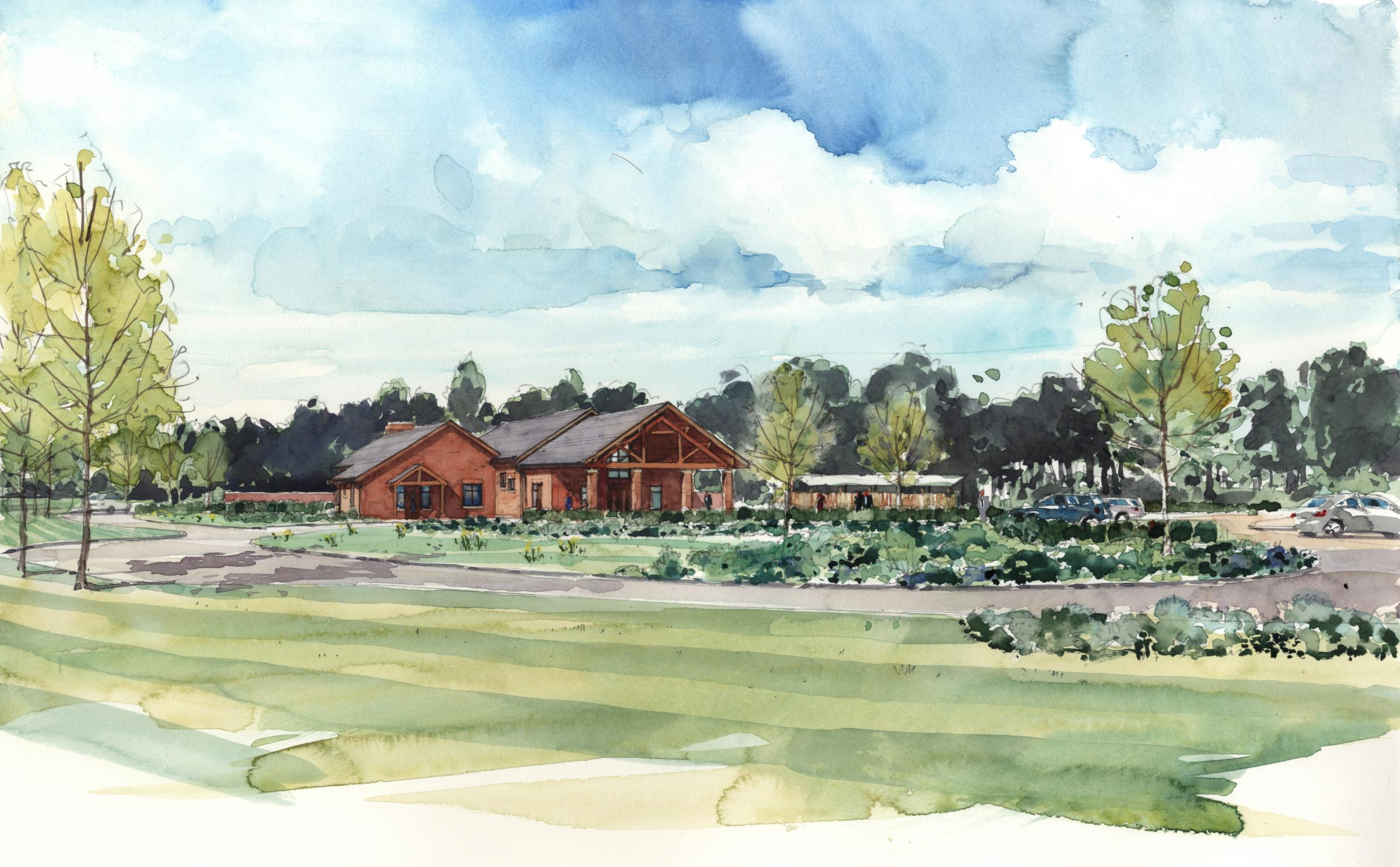 An artists impression of a proposed crematorium near Oswestry