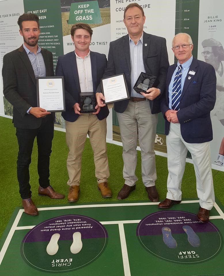 Shropshire's regional winners in the British Tennis Awards last year: Harrison Gwilt and Josh Price on behalf of Monkmoor Recreation Ground being named Community Venue of the Year, and Simon Jones, of Tennis Shropshire's Fun Competitions which w