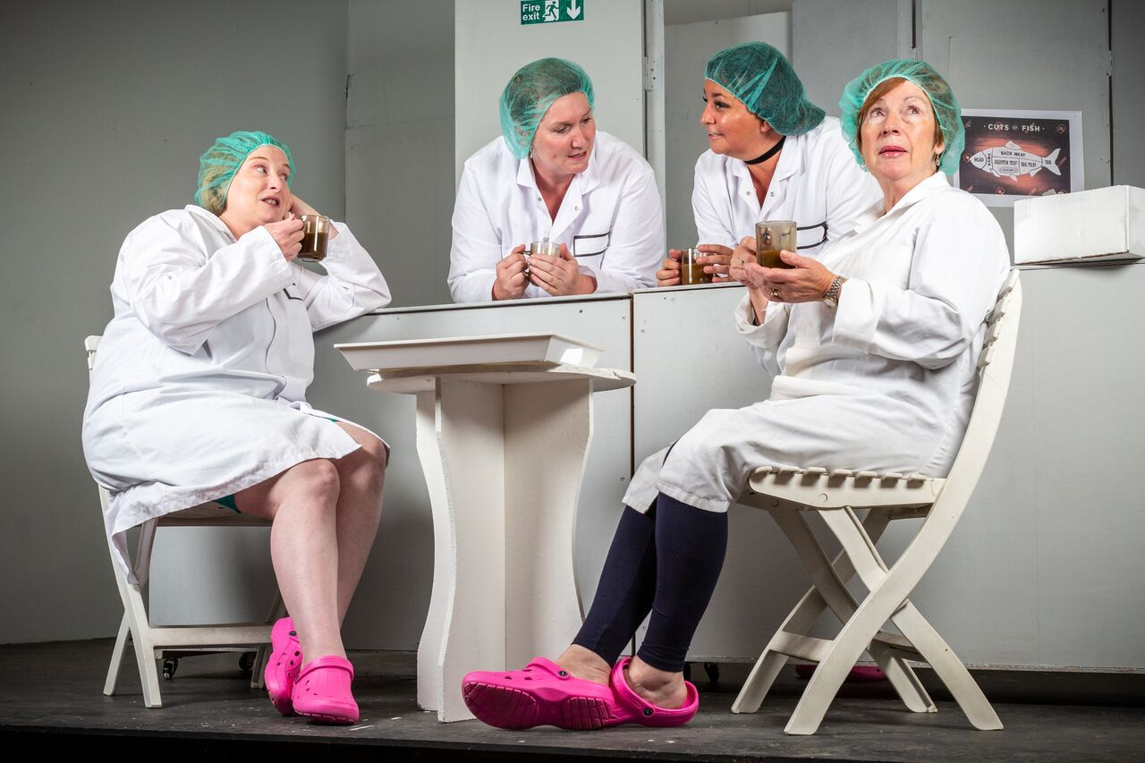 The factory-floor foursome (l to r): Linda (Sara Dulson), Jan (Jenny Vaughan), Shelley (Jude Robinson), and Pearl (Hefina Evans).