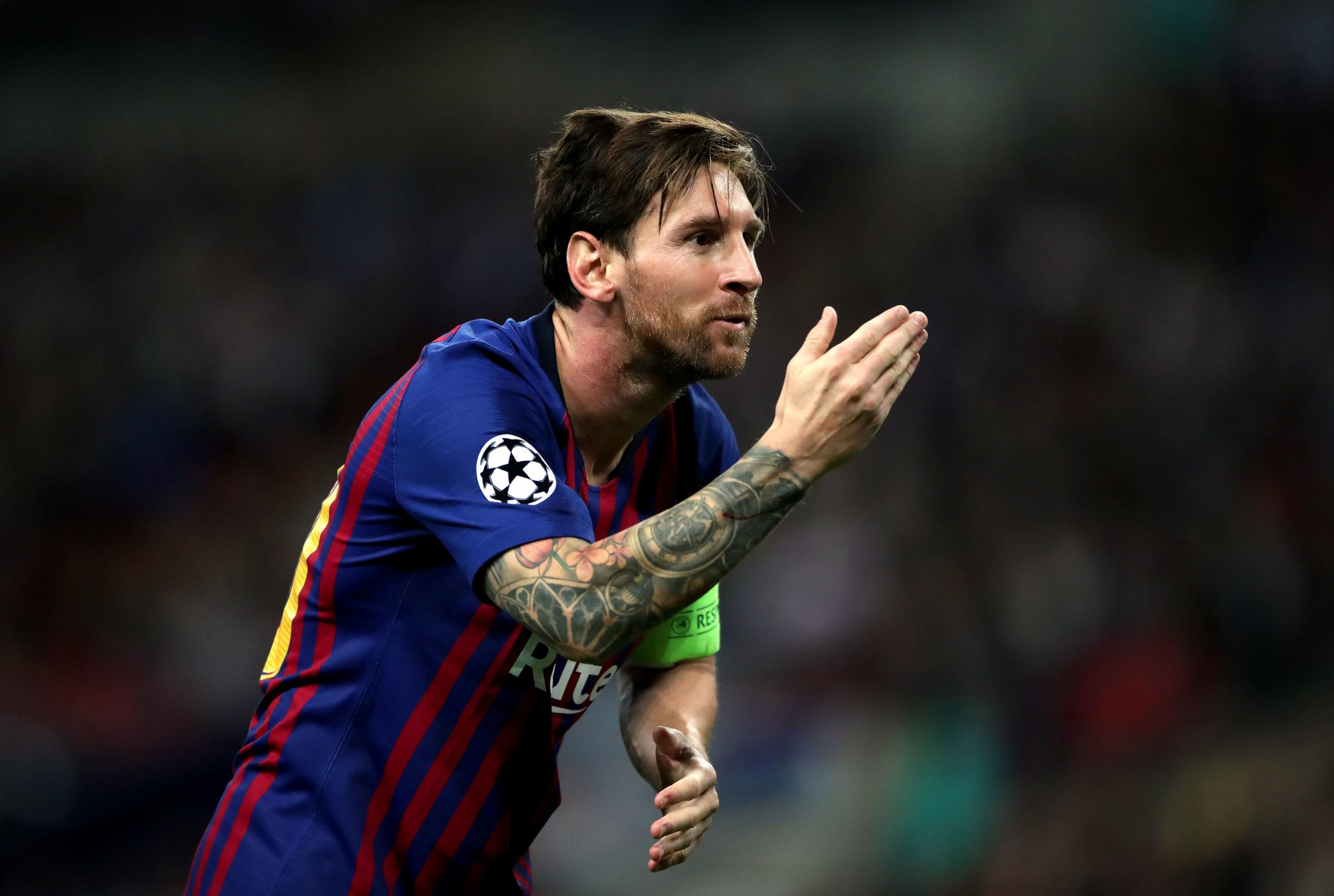 Barcelona's Lionel Messi celebrates scoring his sides third goal during the UEFA Champions League, Group B match at Wembley Stadium, London. PRESS ASSOCIATION Photo. Picture date:  Wednesday October 3, 2018. See PA story SOCCER Tottenham