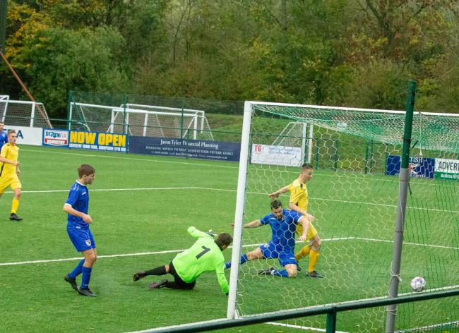 Dave Howarth finds the net for FC Oswestry Town. Photo: Ian Jones