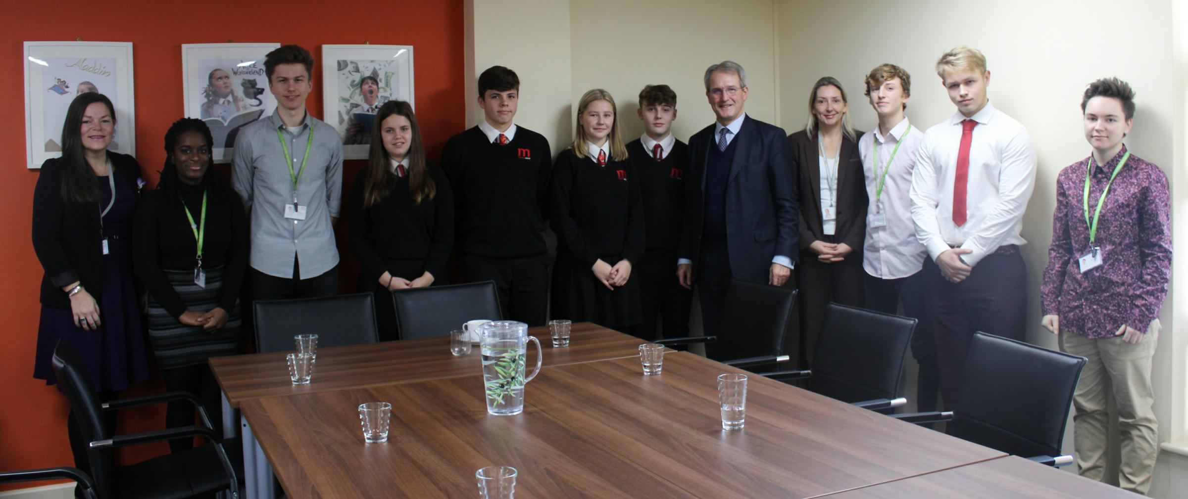 Marches students with MP Owen Paterson
