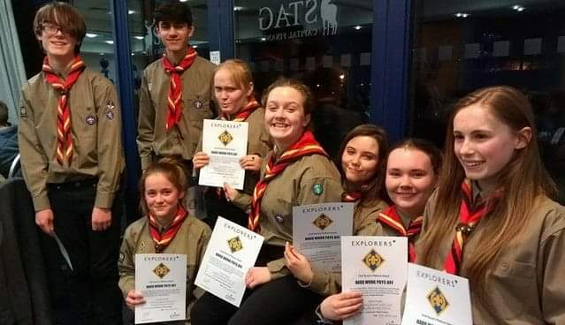 Pictured are members of the Oswestry Scout Group receiving their platinum award recently