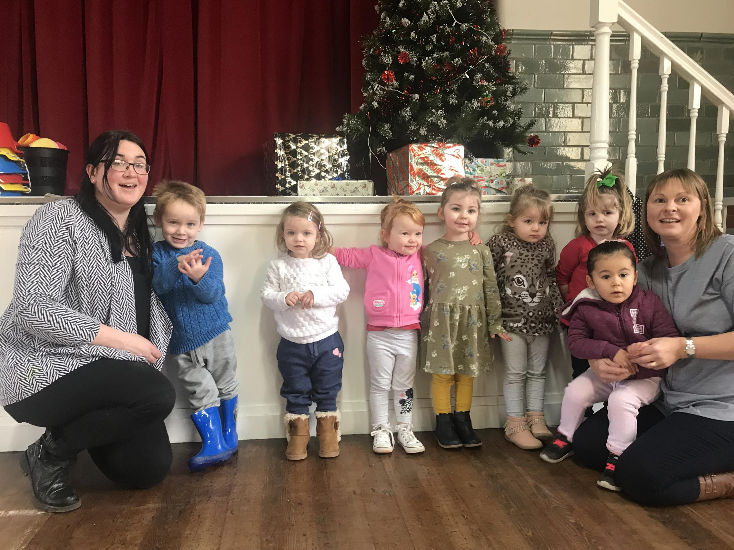 Laura Singleton, Chirk Pre-School children and group leader Llinos Jones