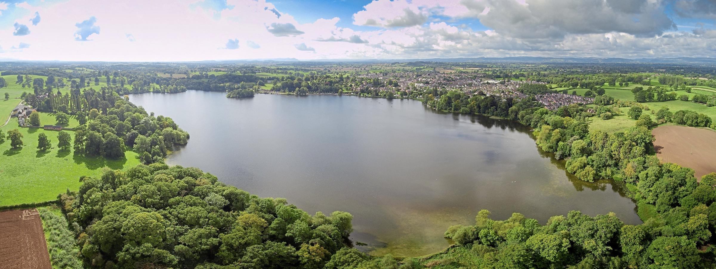 The Mere at Ellesmere taken by a Shropshire Council drone