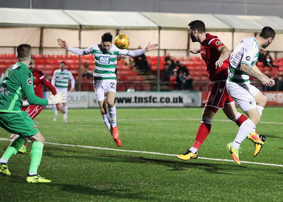 Aeron Edwards heads for goal (pic: Brian Jones)
