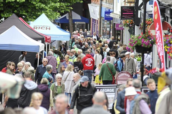 Oswestry Food and Drink Fstival 2017..Looking down Bailey Street..HD15717.