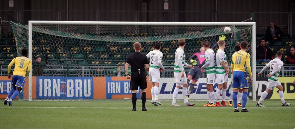 TNS skipper Paul Harrison is beaten in stoppage-time. Picture by Brian Jones