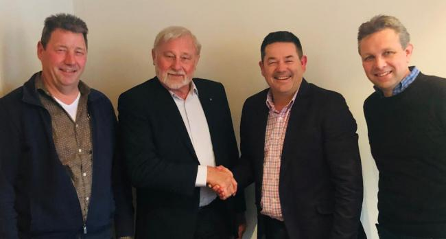 Fullwood Packo managing director, Andrew Dodwell (second from right), with Mewitec representatives Paul Huijbers, Bert Bloemert and Doede Hofman.