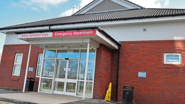 Accident & Emergency entrance at Wrexham Maelor Hospital
