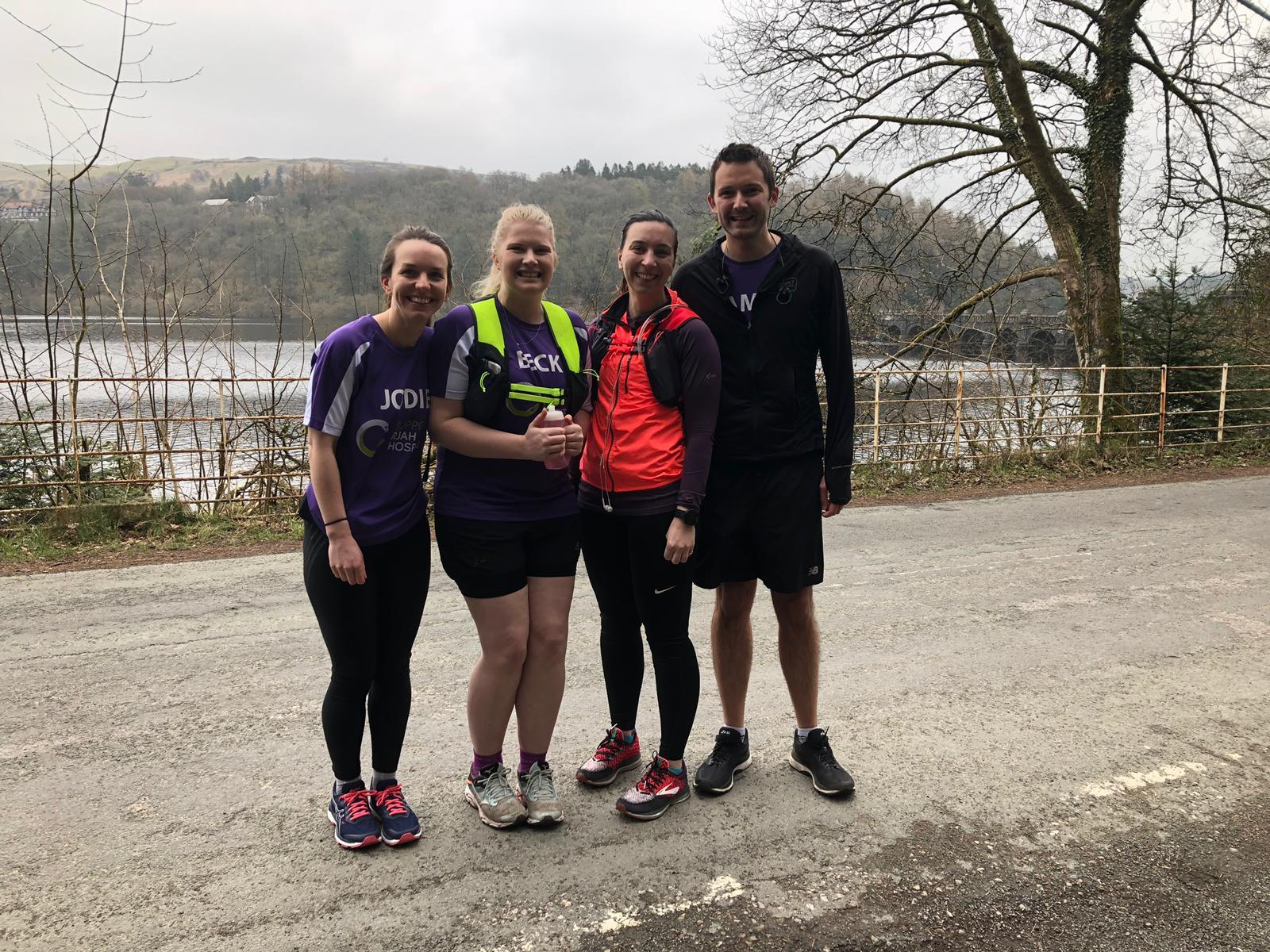 Jodie Rogers along with members of the group taking on the marathon Becky Jones, Rebecca Thorpe and James Jones