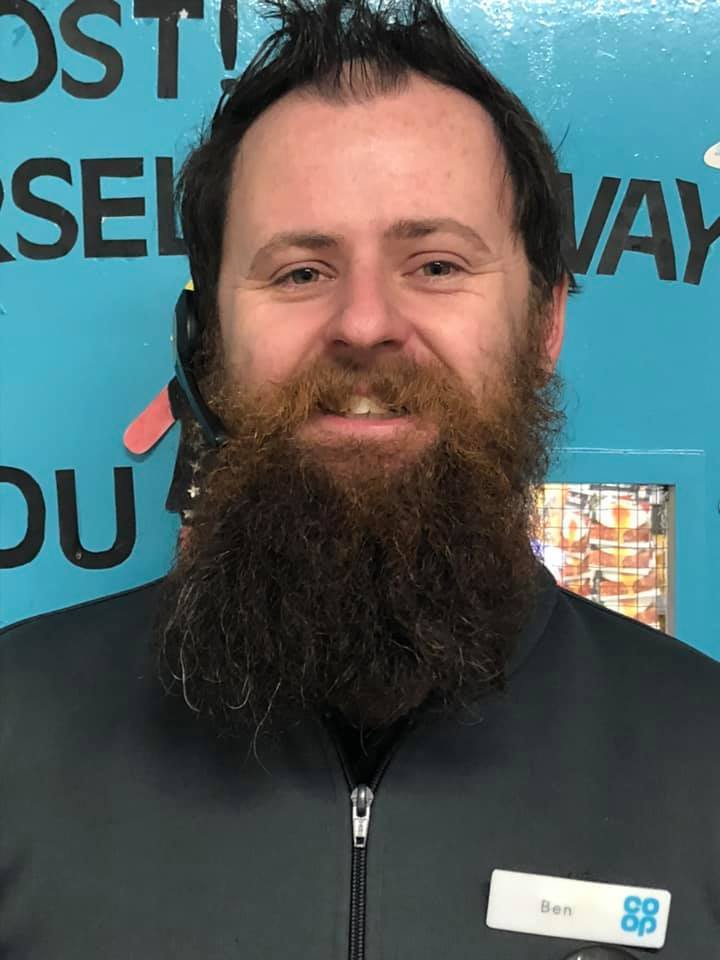 Ben Stokes, a team manager at the Co-op in Victoria Road Oswestry, is set to have his beard shaved for charity