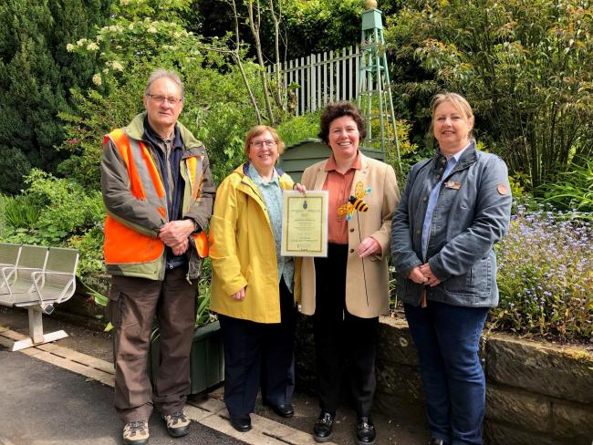 LtoR - Volunteers Paul Thomas and Christine Ashford with Clwyd South MP Susan Elan Jones and Chairman of Chirk Gardeners Club Dawn Gough at a recent visit from the MP
