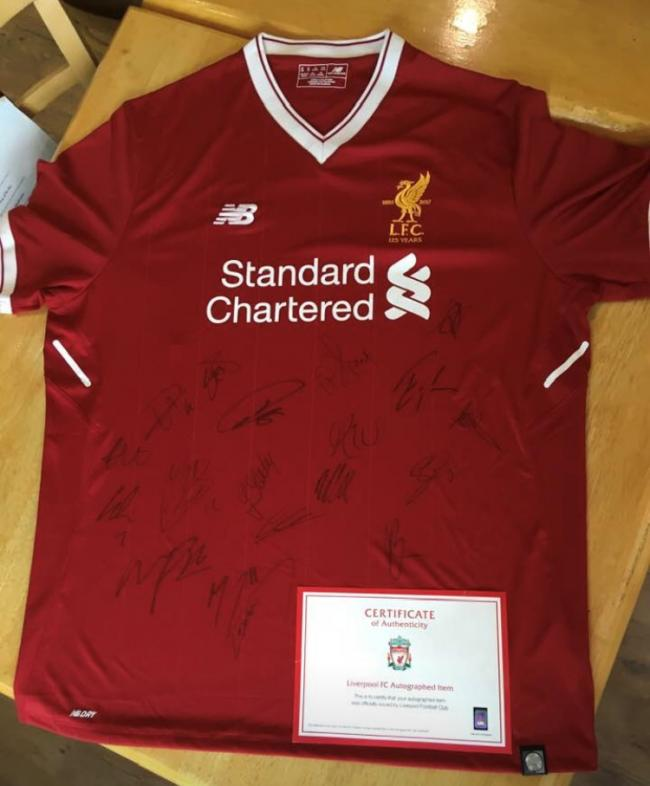 best website 8f433 2c9eb Liverpool Champions League final shirt signed by players ...