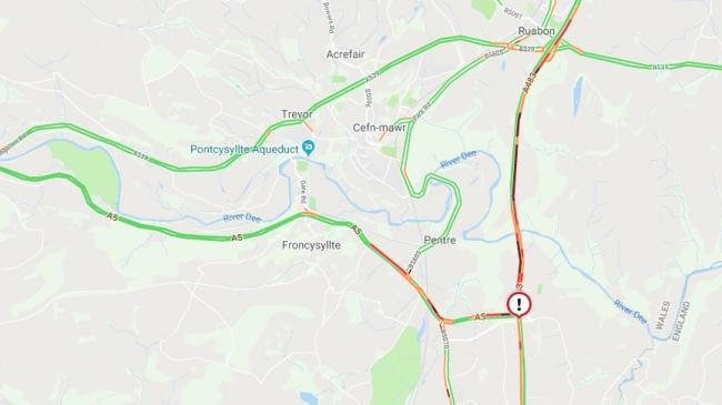 The broken down vehicle close to junction 1 of the A483 has caused congestion.
