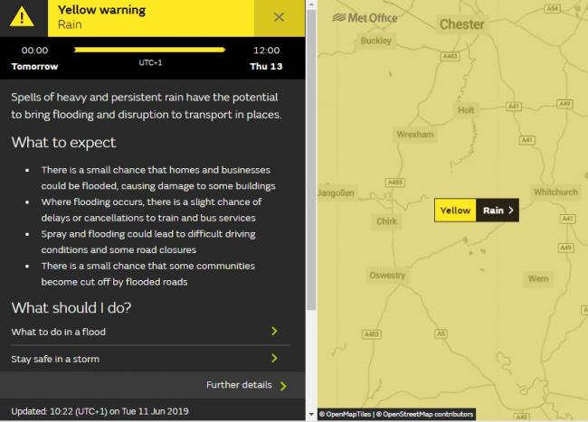 Yellow weather warning for north Shropshire on June 12. Picture by © OpenMapTiles | © OpenStreetMap contributors