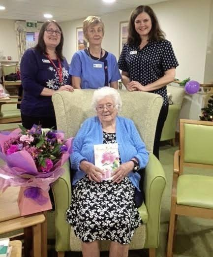 Nanny Evans, celebrating when she turned 107, at Chirk Court care home